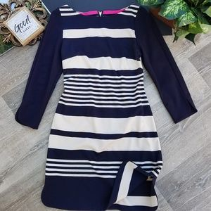 Eliza J Striped Quarter Sleeve Navy Shift Dress 6